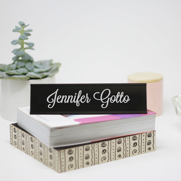 "Personalized Desk Plate, Custom Name Plate for Desk, Teacher Desk Plate ""Jennifer Gotto"""