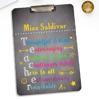 Teacher Clipboard With Personalized Name