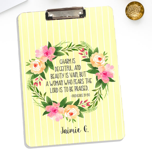 Personalized Floral Reef Clipboard