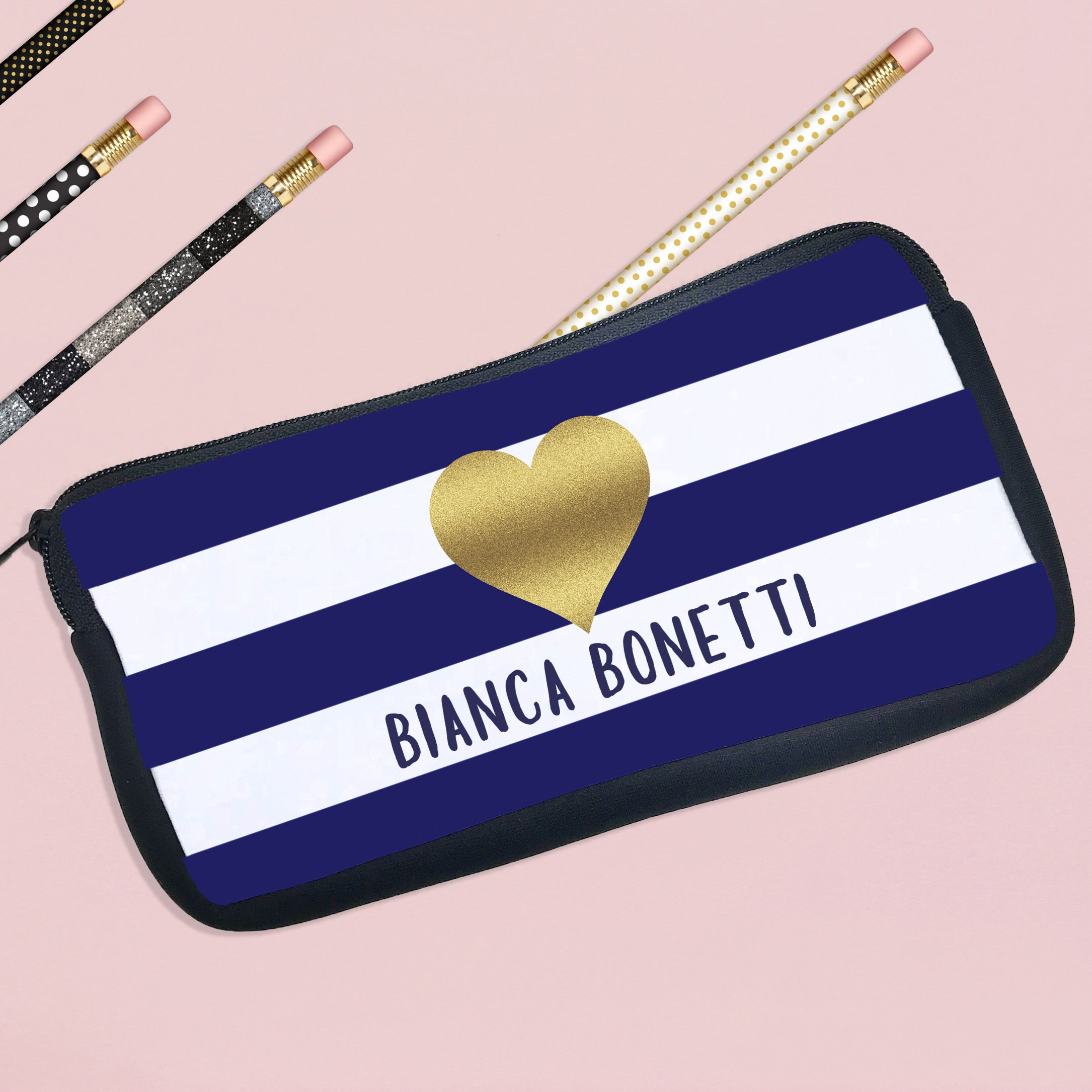 personalized pencil case first and last name stamp out