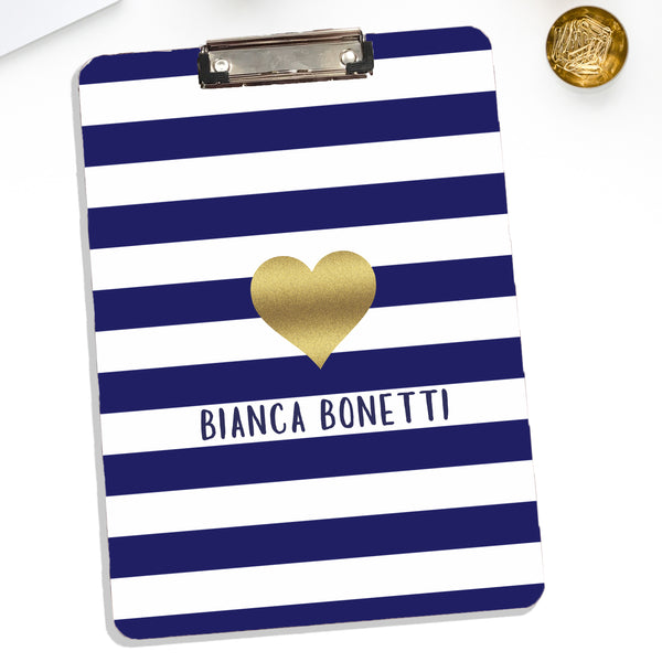 Personalized Clipboard With Gold Heart