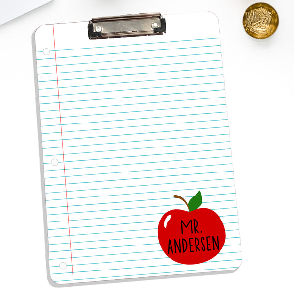 Personalized Teacher Clipboard Notebook Apple