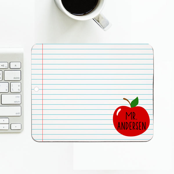 Personalized Mouse Pad With Teacher's Name In Apple