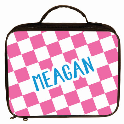 Personalized Pink Checkered Lunch Box