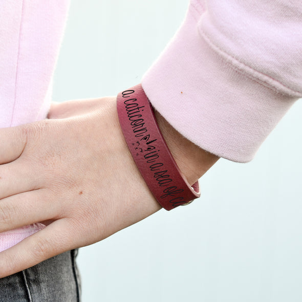 "Personalized Leatherette Kids Cuff Bracelet ""Be a caitcorn in a sea of cats"""
