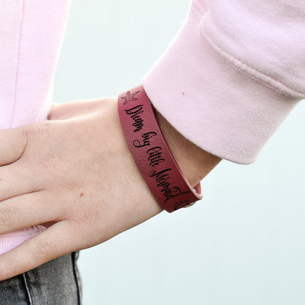 "Personalized Leatherette Kids Cuff Bracelet ""Dream Big Little Mermaid"""