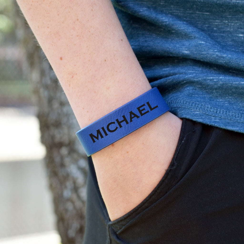 "Custom Leatherette Kids Cuff Bracelet ""Michael"""