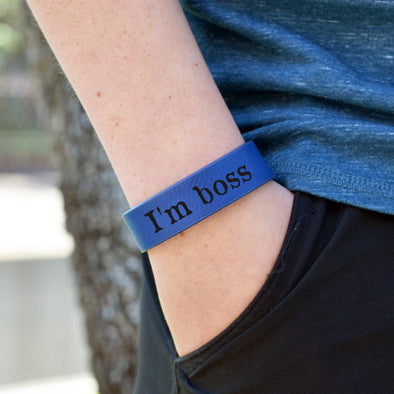 "Personalized Leatherette Kids Cuff Bracelet ""I'm Boss"""