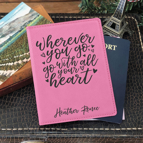 "Custom Passport Holder, Engraved Passport Cover ""Heather Renee"""