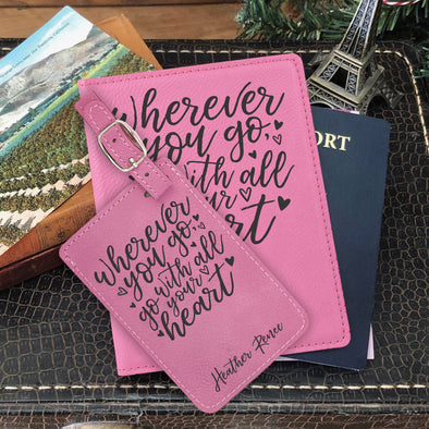 "Passport Cover & Luggage Tag Set, Personalized Graduation Gift ""Heater Renee"""