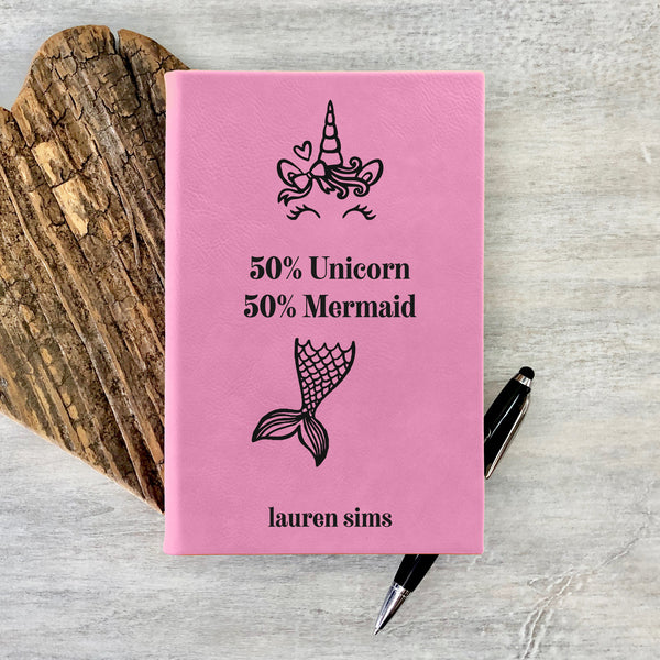 "Custom Journal, Cute Journal, Mermaid & Unicorn Personalized Journal ""Lauren Sims"""