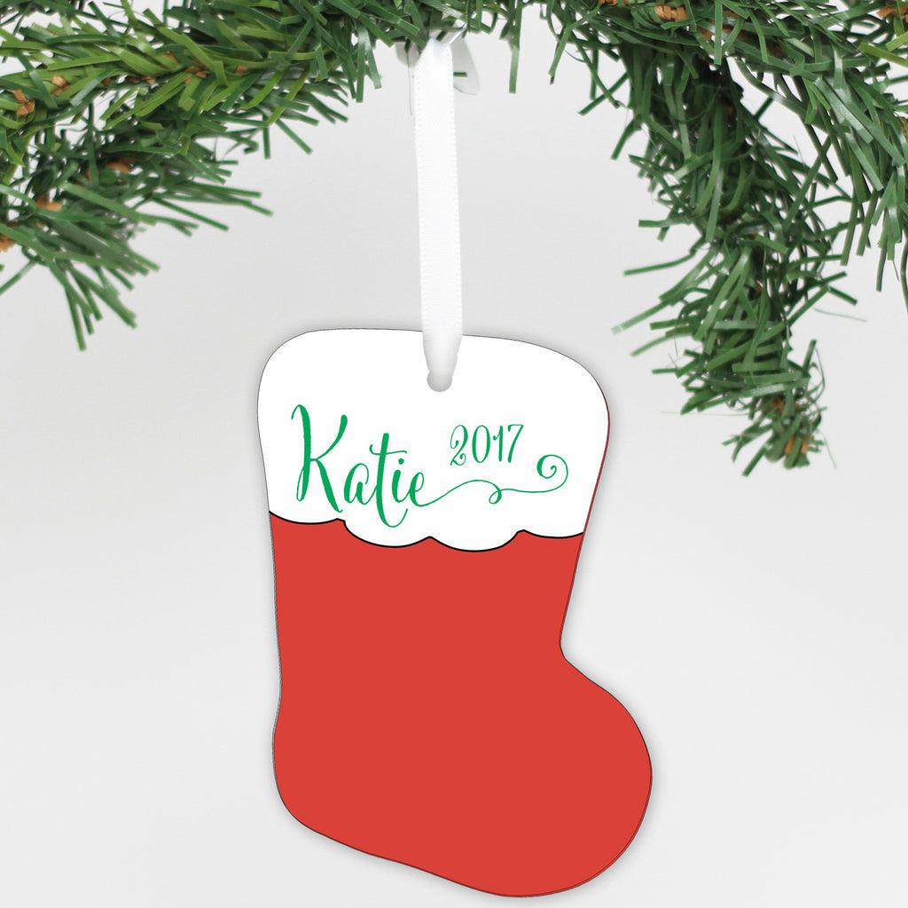 Personalized Name Aluminum Stocking Ornament
