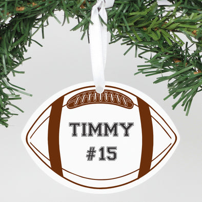 Personalized Name Aluminum Football Ornament
