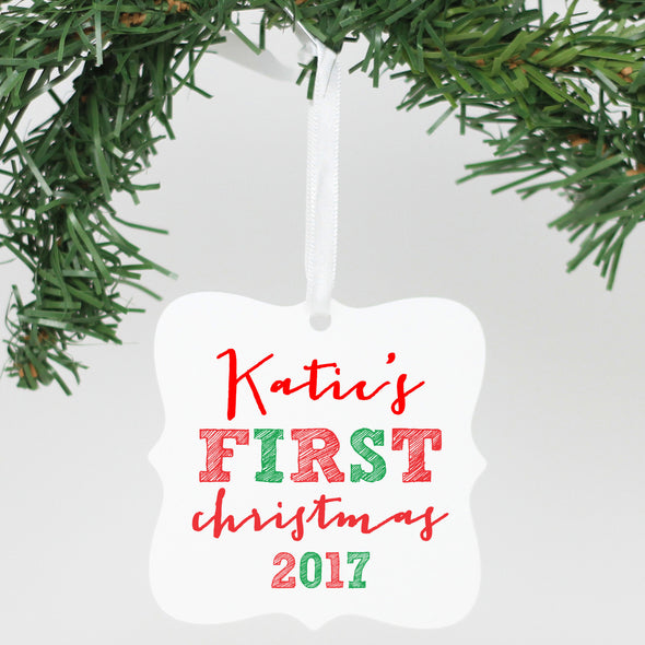 "Personalized Aluminum Cute Square Ornament - ""Katie's First Christmas"""