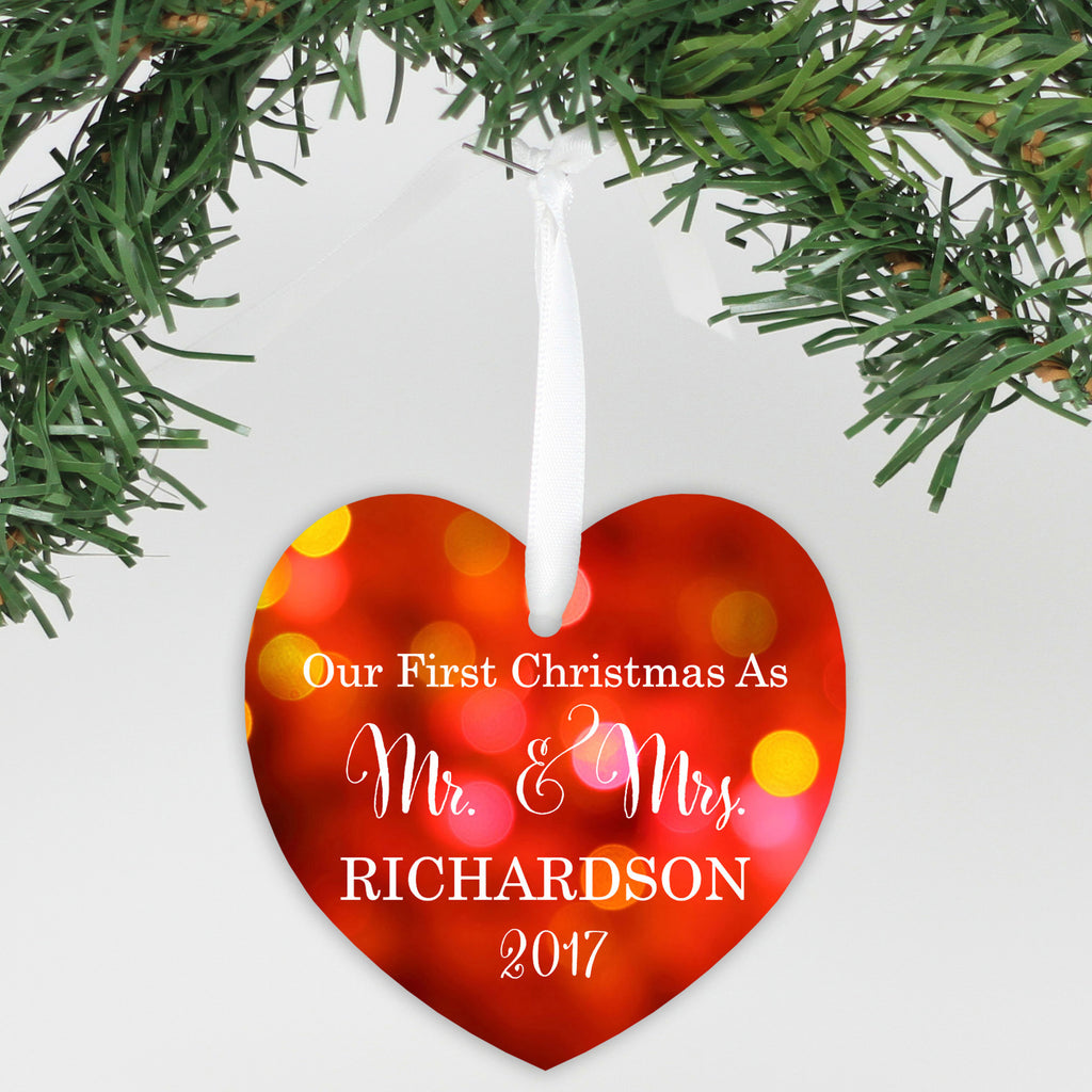 "Personalized Aluminum Heart Ornament - ""Our First Christmas"""