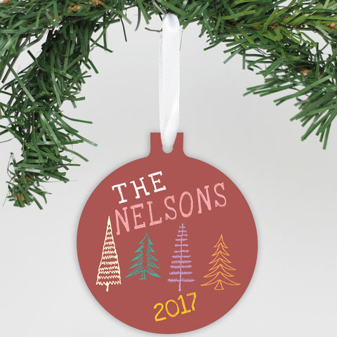 "Personalized Aluminum Ornament - ""Nelsons Christmas Trees"""