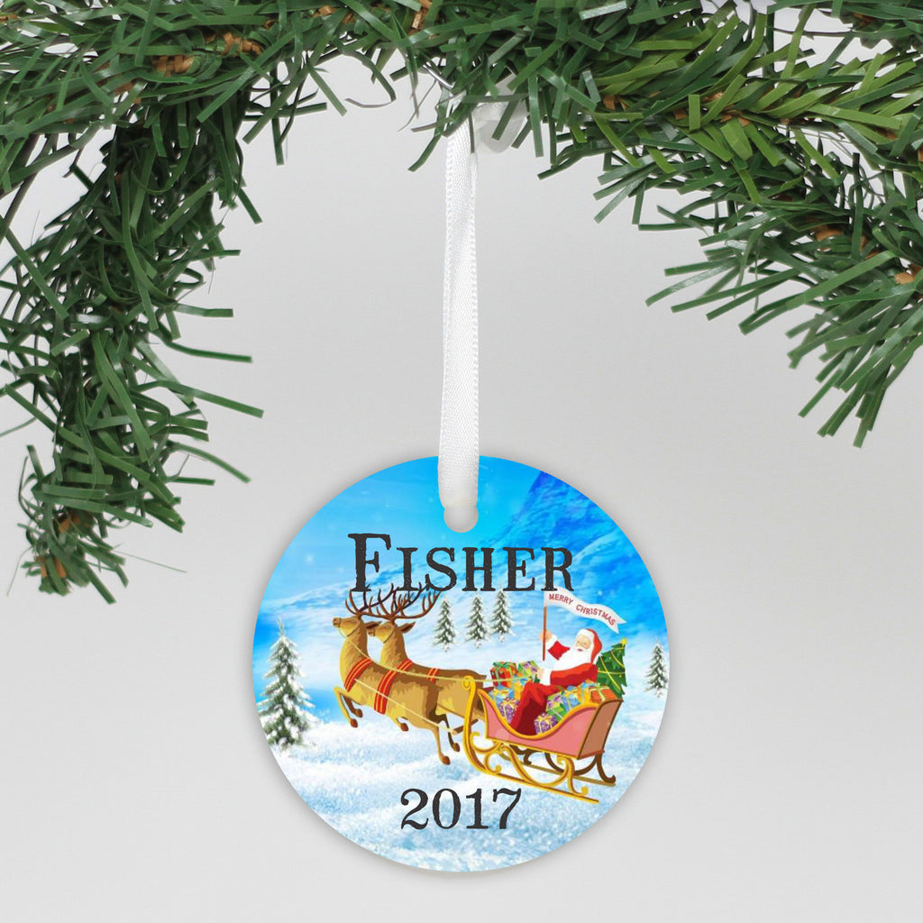 "Personalized Aluminum Ornament - ""Reindeer And Sled"""