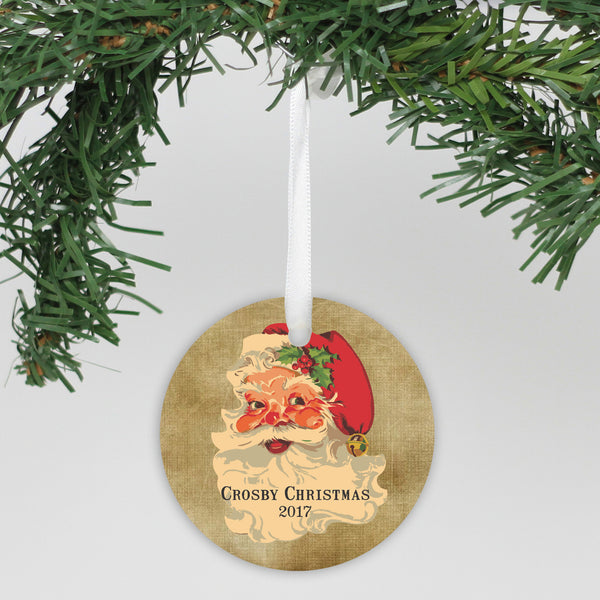 "Personalized Ceramic Round Ornament - ""Jolly Santa Face"""