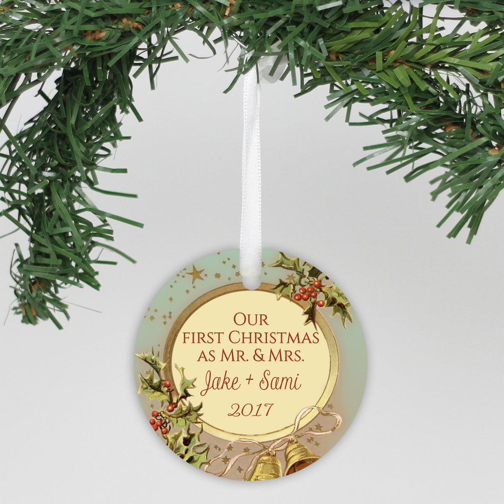 "Personalized Ceramic Ornament - ""Holly & Bells, Our First Christmas"""
