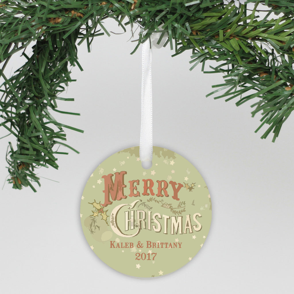 "Personalized Aluminum Ornament - ""Vintage Merry Christmas"""