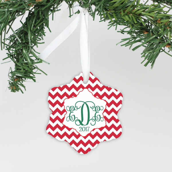 "Personalized Ceramic Snowflake Ornament - ""Chevron Monogram"""