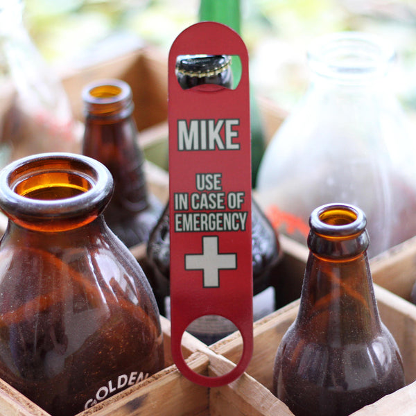 "Personalized Bottle Opener - ""Mike Emergency"""