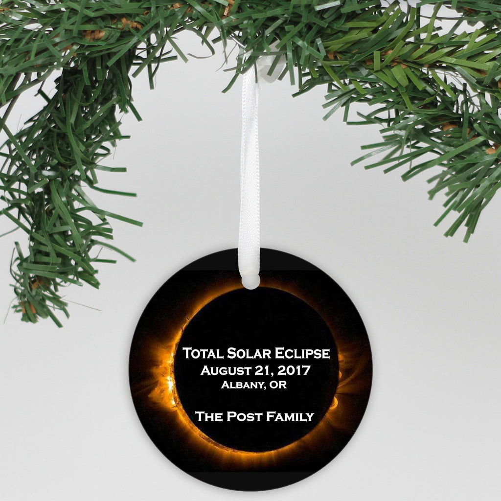 "Personalized Aluminum Ornament - ""Total Solar Eclipse"""