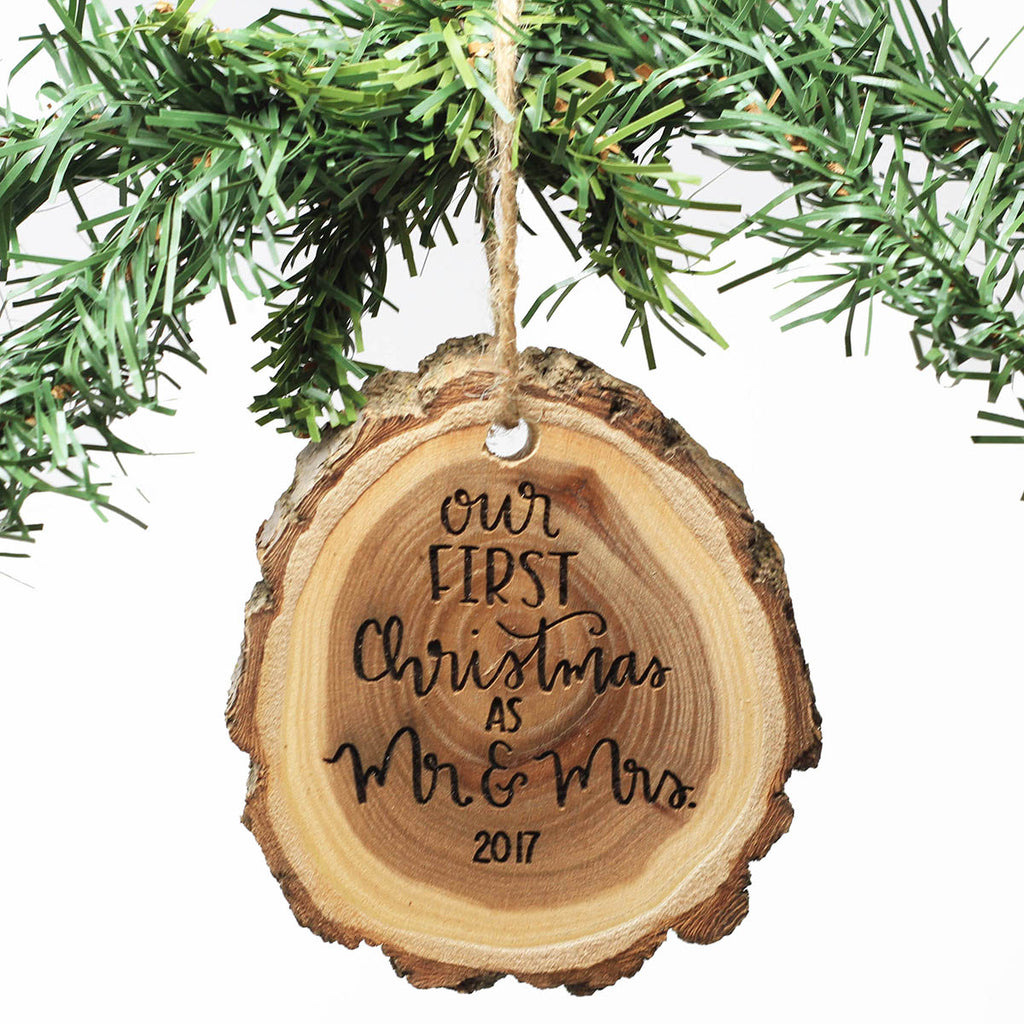 Engraved Wood Ornament - Our First Christmas As Mr & Mrs. 2017