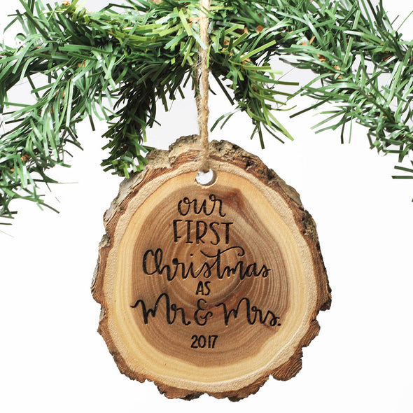 Engraved Tree Slice Wood Ornament - Our First Christmas As Mr & Mrs. 2019