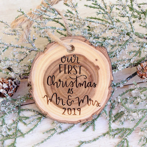 Mr. & Mrs. Tree Slice Personalized Christmas ornament