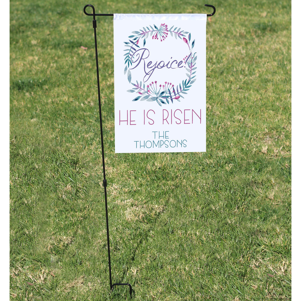 Personalized He Is Risen Garden Flag