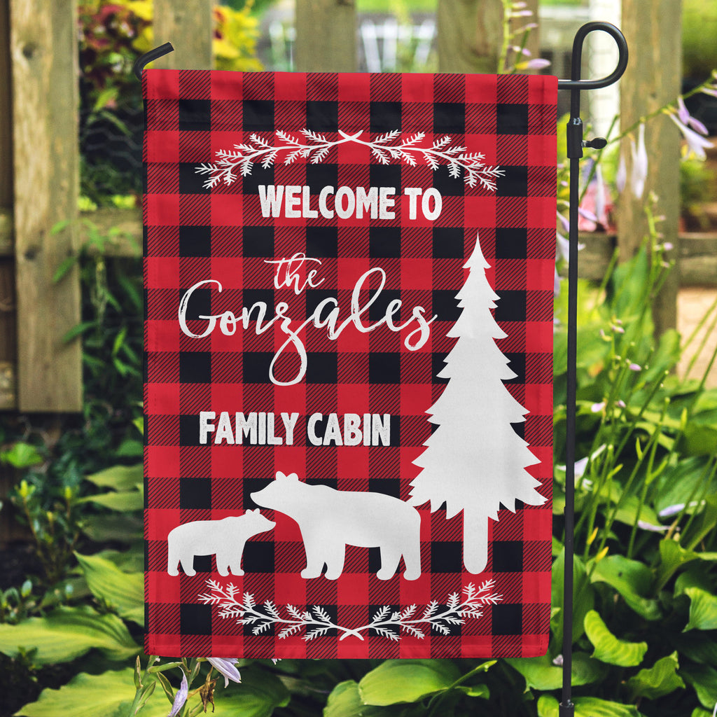 Personalized Yard Flag, Cabin Flags, Forest home flags, Flags for your cabin, Plaid flags,