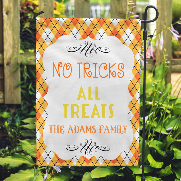 Personalized Yard Flags, Halloween Flags, Trick Or Treat Flags, Family Flags, Candy Corn Colored Flag,