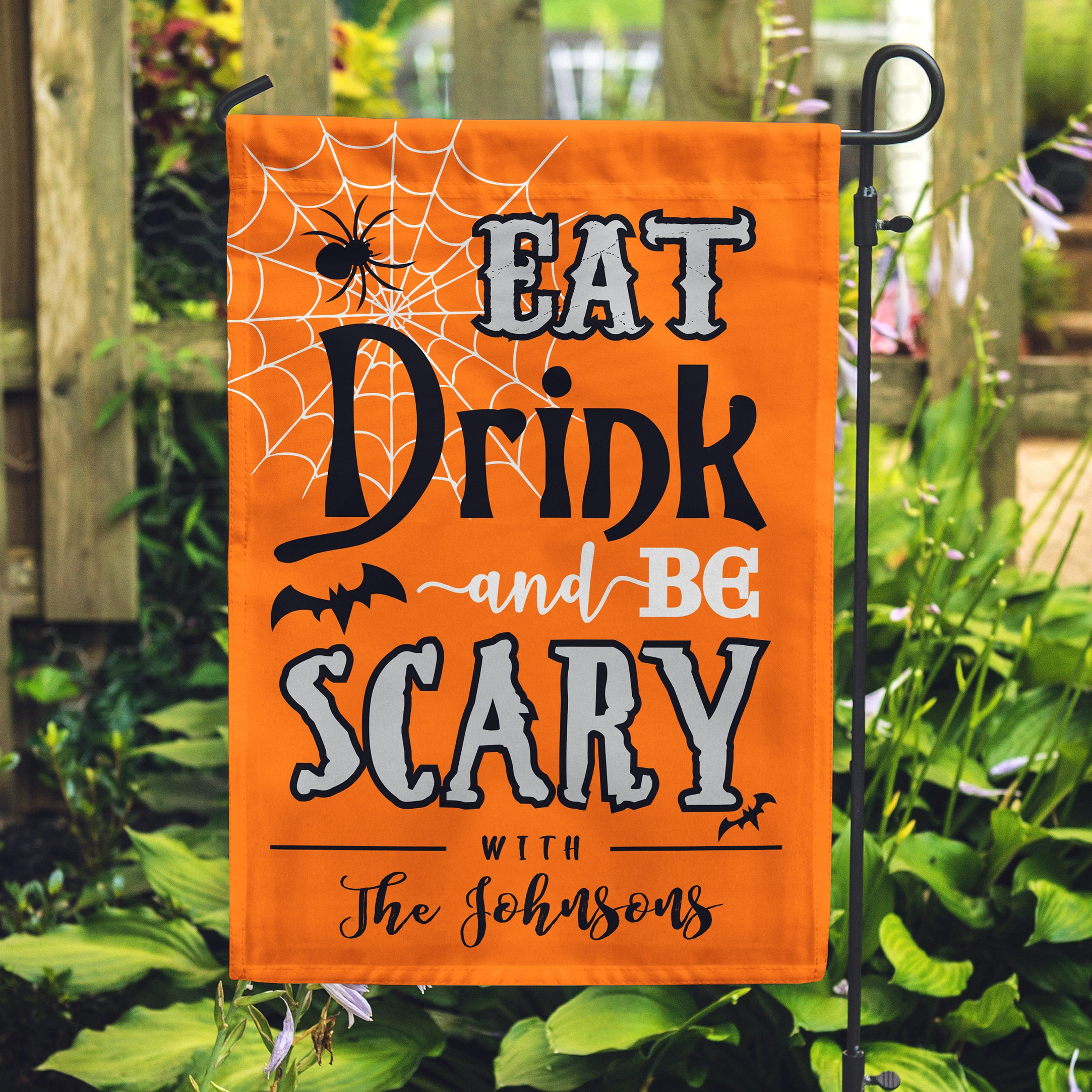 Personalized Eat Drink Be Scary Garden Flag Custom Garden Flag For Halloween Personalized Flag
