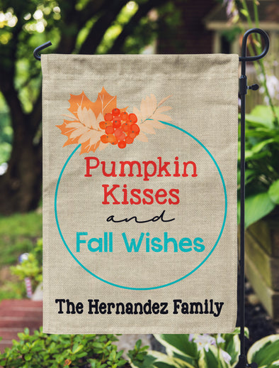 Fall Garden Flag,  Pumpkin Kisses and Fall Wishes, Custom Garden Flag for Fall, Personalized Fall Flag