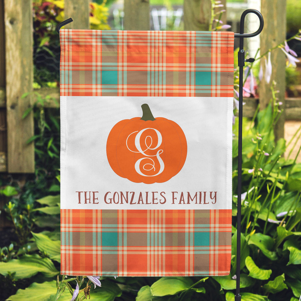 Thanksgiving Flags, Yard Flags, Plaid Flag, Pumpkin Flags, October Flags, November Flags, Personalized Flags,