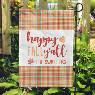 Happy Fall Flags, Personalized Family Flags, Plaid Flags,
