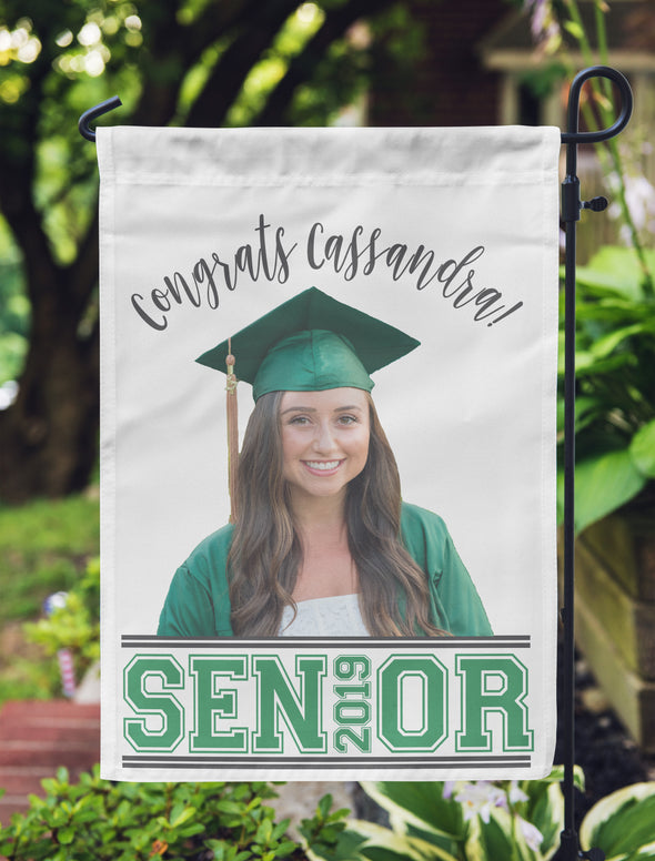 "Graduation Photo Flag, Grad Flag, Personalized Garden Flag ""Cassandra"""