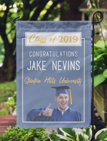 "Graduation Photo Flag, Grad Flag, Personalized Garden Flag ""Jake Nevins"""