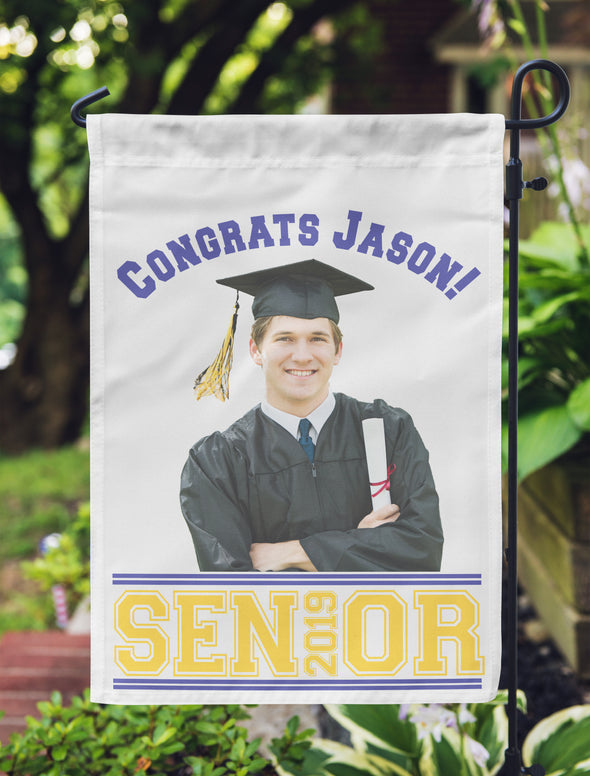 "Graduation Photo Flag, Grad Flag, Personalized Garden Flag ""Jason"""