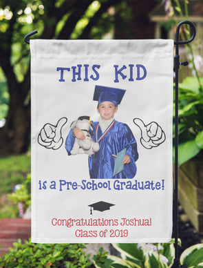 "Graduation Photo Flag, Grad Flag, Personalized Garden Flag ""Joshua"""