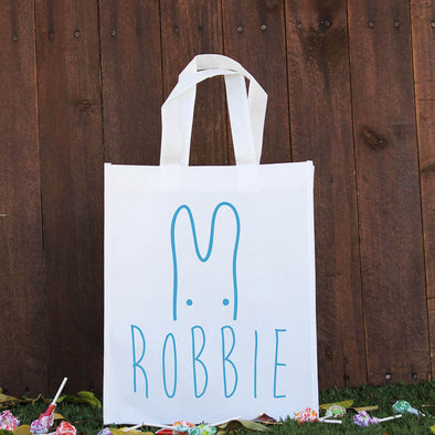 Happy Easter Treat Bag - Blue Peeking Bunny