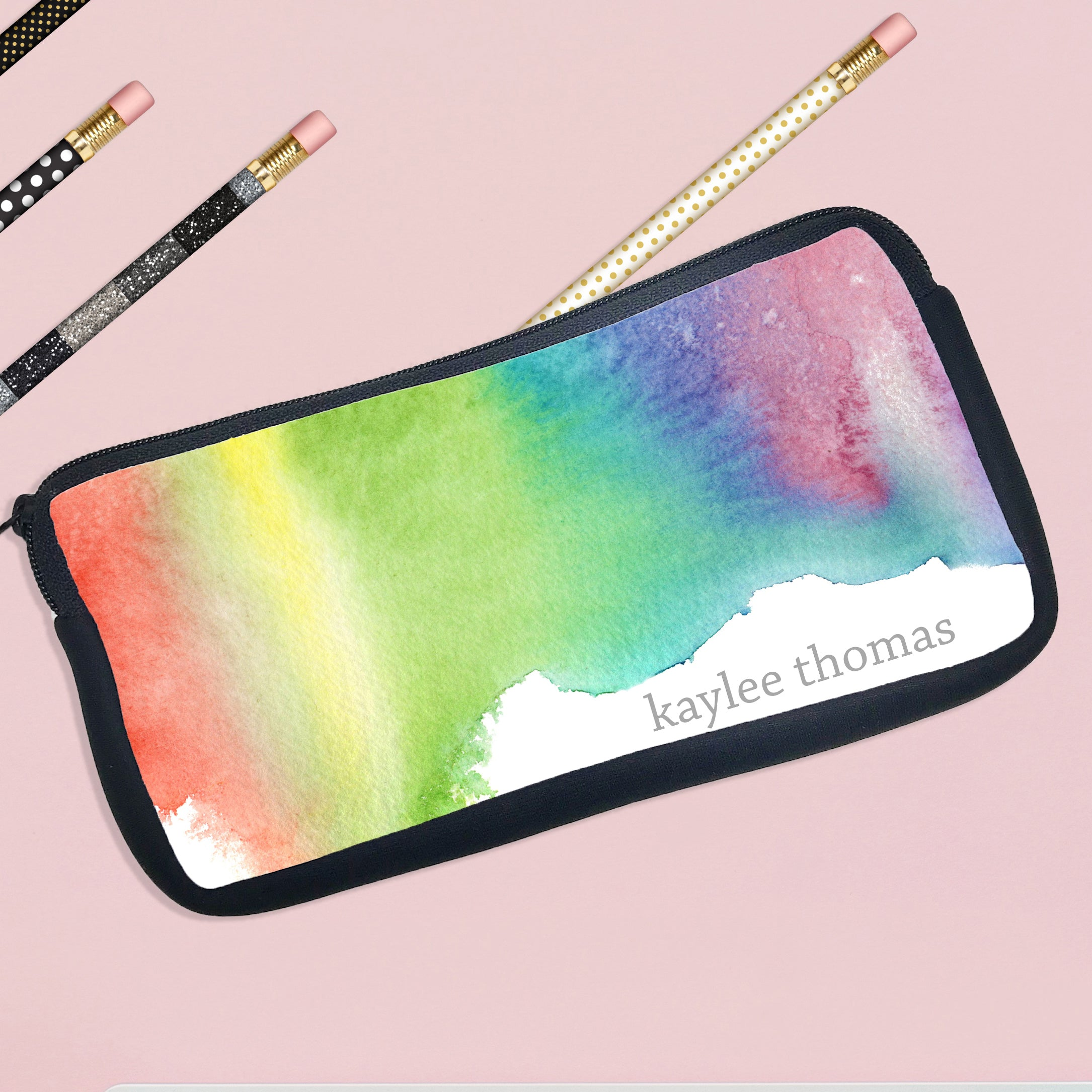 personalized pencil case water color paint stamp out