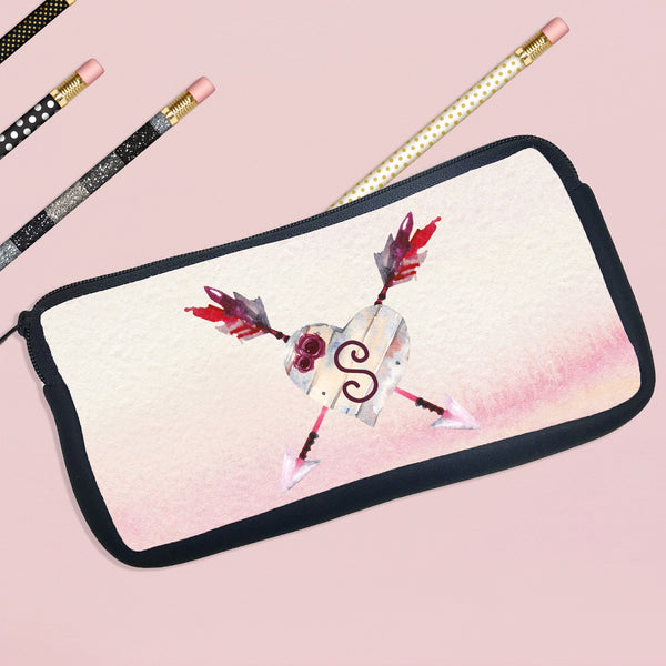 Personalized Pencil Case Heart With Arrows