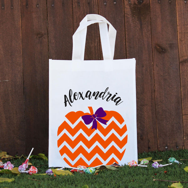 Trick or Treat Bag - Alexandria Chevron Pumpkin