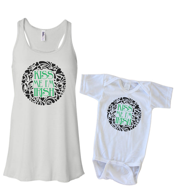 Matching Tank & Onesie - Kiss me I'm Irish