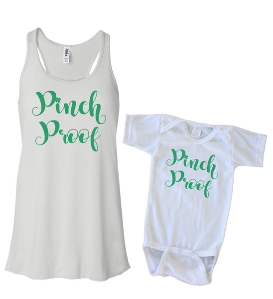 Matching Tank & Onesie - Pinch Proof Cursive