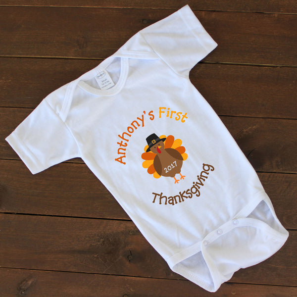 "Baby Onesie - ""First Thanksgiving"""