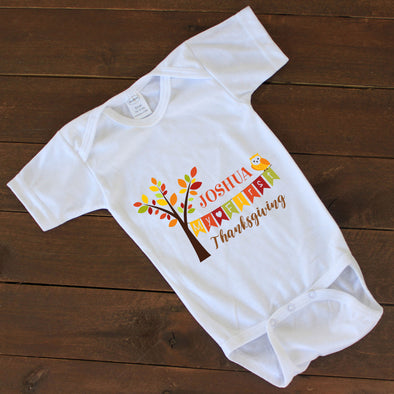 "Baby Onesie - ""Personalized Name Thanksgiving"""