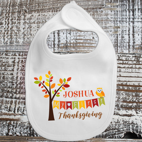 Baby Bib - Personalized Name Thanksgiving